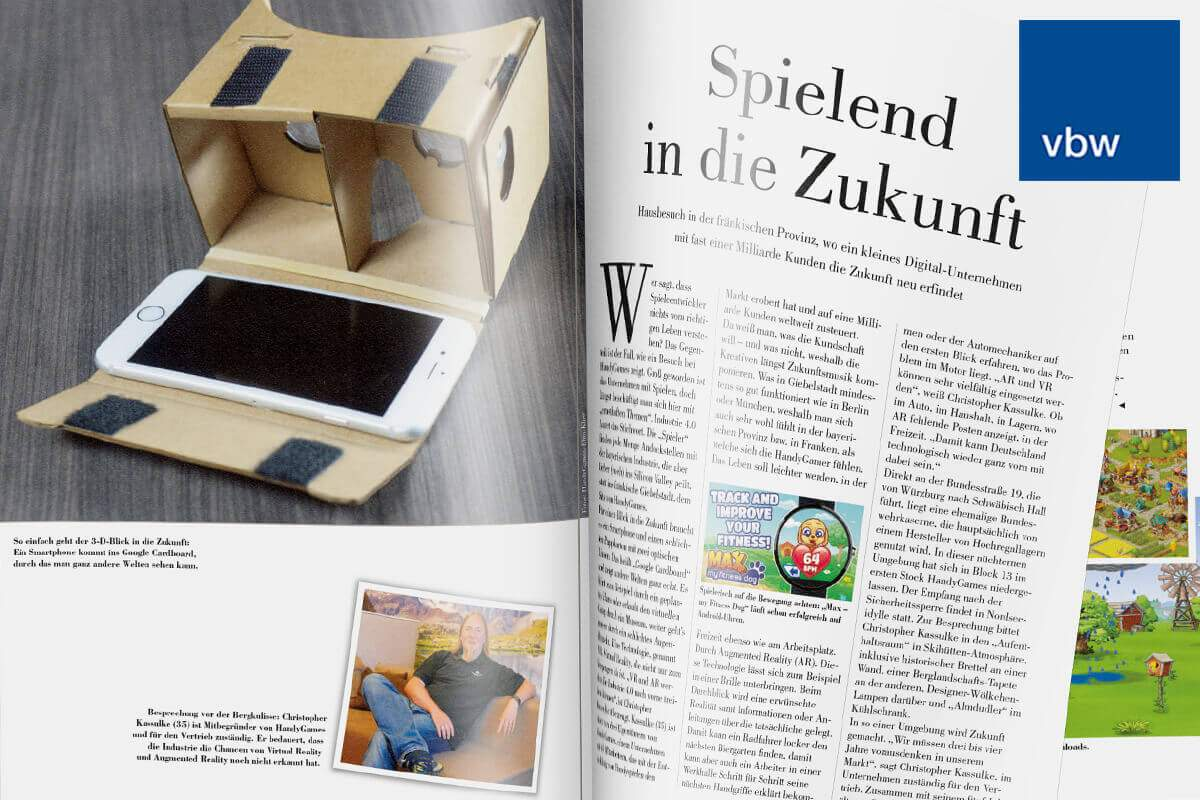 HandyGames featured at the vbw business magazine