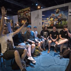 Enjoying the games at the Indie Arena Booth during the Gamescom trade fair
